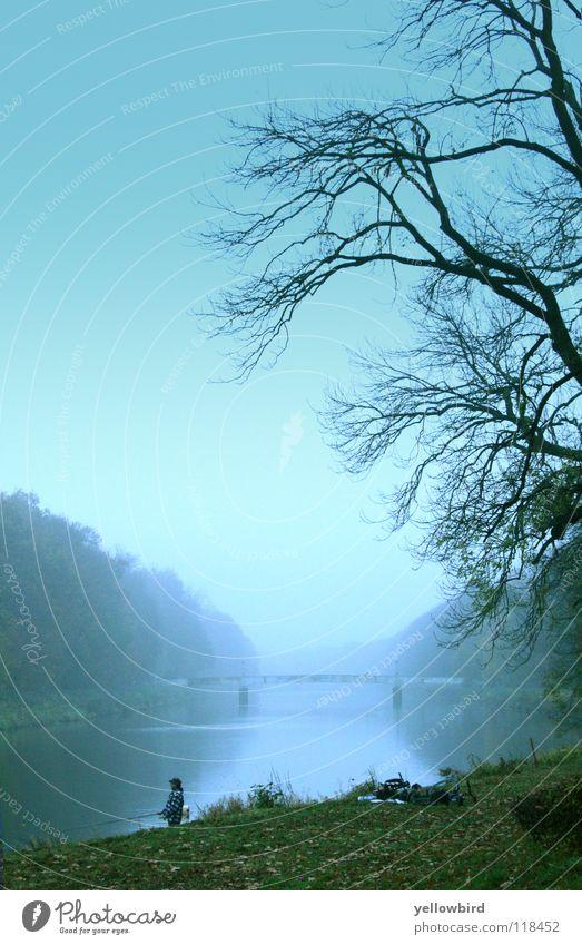 Der Nebelsee. Natur Herbst See Brücke Fluss Leipzig Angler Sachsen