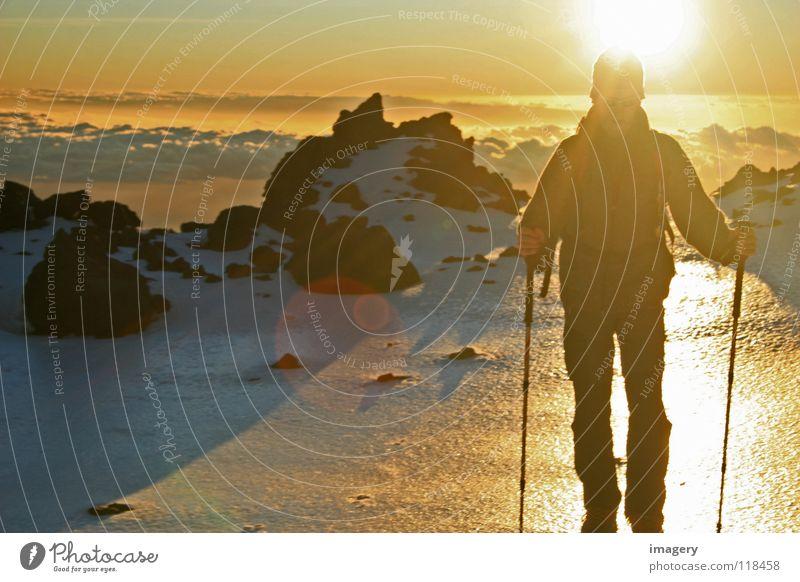 Sonnenaufgang am Teide_Teil 3 Himmel Sonne Wolken Schnee Berge u. Gebirge Erfolg anstrengen Bergsteigen Wintersport Teneriffa Teide