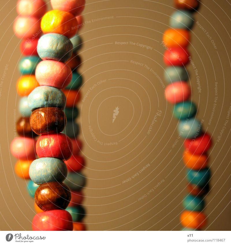 Schmuck blau schön Holz braun orange rosa Dekoration & Verzierung Kette Hals Perle Perlenkette Holzperle