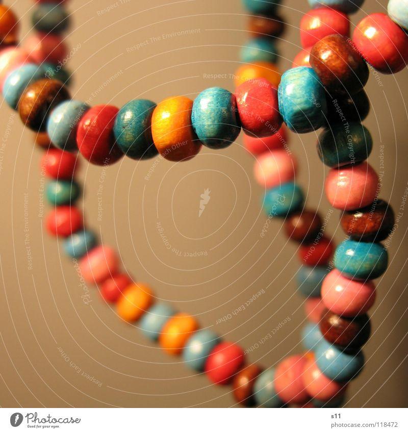 Schmuck.. blau Holz braun orange rosa Dekoration & Verzierung Reichtum Kette Hals Perle Perlenkette Holzperle