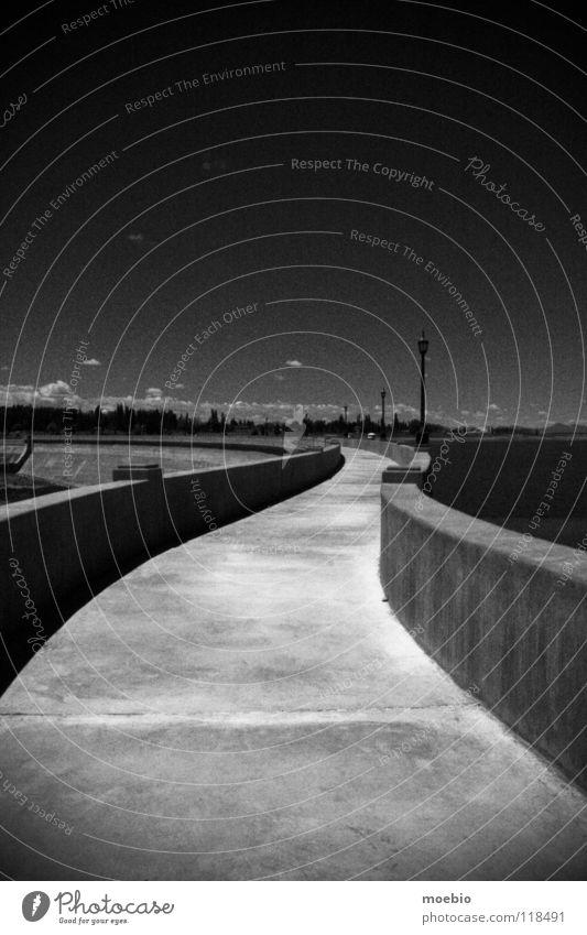 Víbora Himmel Natter Staumauer Beton dunkel Kurve Bauwerk Grenzbefestigung Argentinien Industrie Schwarzweißfoto sky cement coulds curved argentina