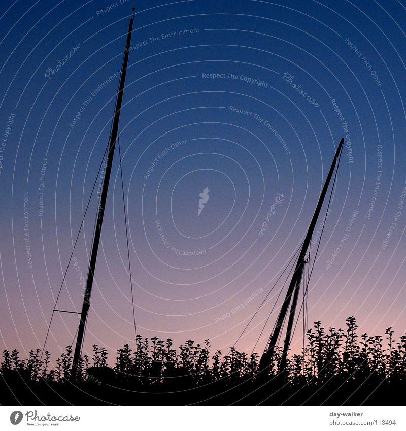 Wenn ein Schiff vorüberfährt Wasser Himmel blau rot schwarz dunkel See Wasserfahrzeug Seil Freizeit & Hobby Strommast Abenddämmerung Hecke