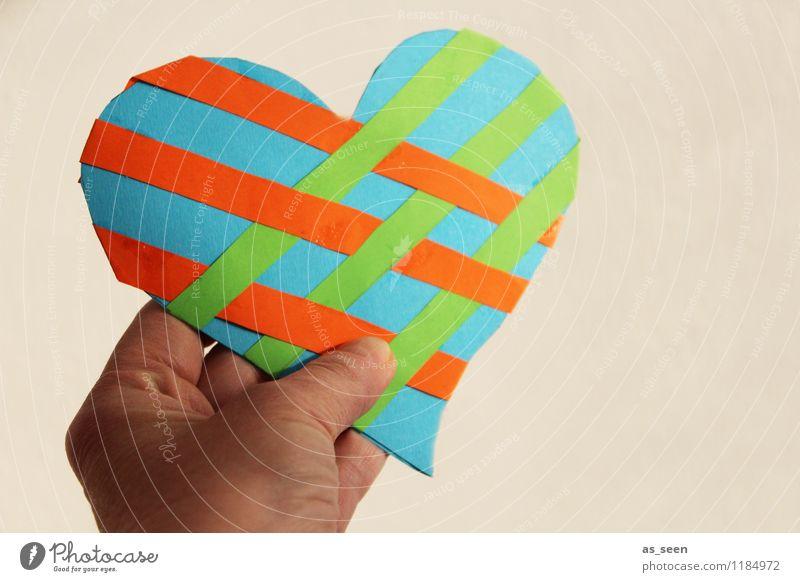 Beziehungsgeflecht Leben Hand Finger Papier Dekoration & Verzierung Souvenir Herz ästhetisch authentisch Freundlichkeit mehrfarbig grün orange türkis Glück