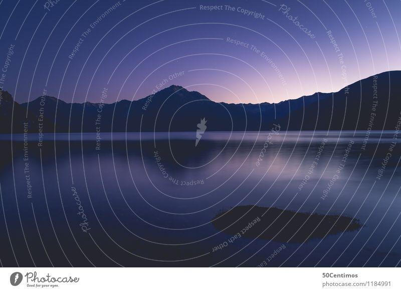 Blue hour Angeln Ausflug Abenteuer Ferne Freiheit Sommer Sommerurlaub Insel Natur Landschaft Wasser Wolkenloser Himmel Berge u. Gebirge See Unendlichkeit blau