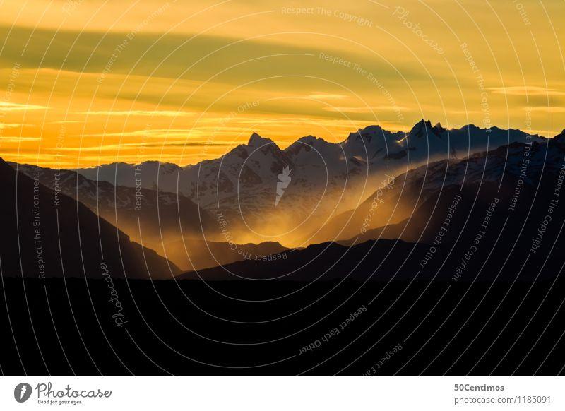 A cold sunset in Paragonia Himmel Ferien & Urlaub & Reisen Landschaft Wolken ruhig Winter Ferne Berge u. Gebirge Schnee Tourismus Freiheit Ausflug wandern
