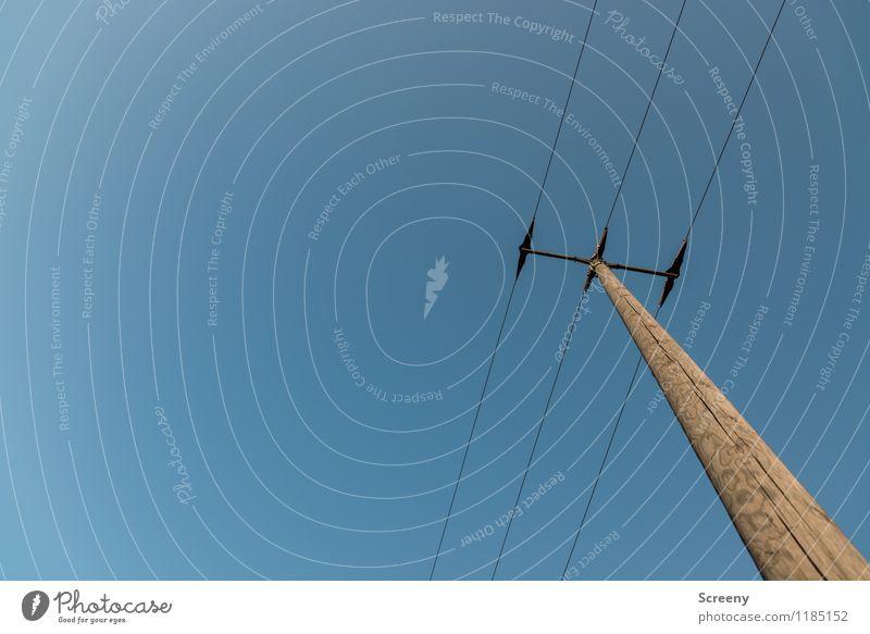 Energieträger #2 Stadt blau Himmel (Jenseits) braun Energiewirtschaft Technik & Technologie Energie hoch Elektrizität Wolkenloser Himmel Strommast Draht
