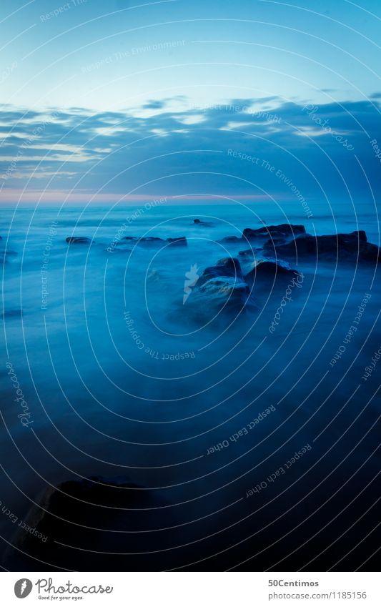 Langzeitbelichtung des Pazifik Himmel Natur Ferien & Urlaub & Reisen blau Sommer Wasser Meer Landschaft ruhig Wolken Strand Umwelt Küste Stein Felsen Horizont