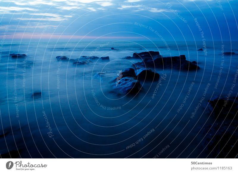 Blaues Meer Himmel Natur Ferien & Urlaub & Reisen blau Sommer Wasser Landschaft Wolken Ferne Strand Umwelt Küste Freiheit Stein Felsen