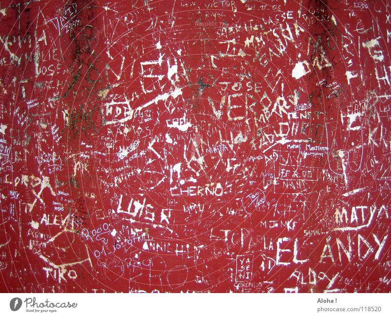 brasilianische Liebe / gemeinsam / unzertrennlich! rot Wand Gefühle Herz Zukunft Partner Partnerschaft Gedanke Liebeskummer Öffentlich Zuneigung