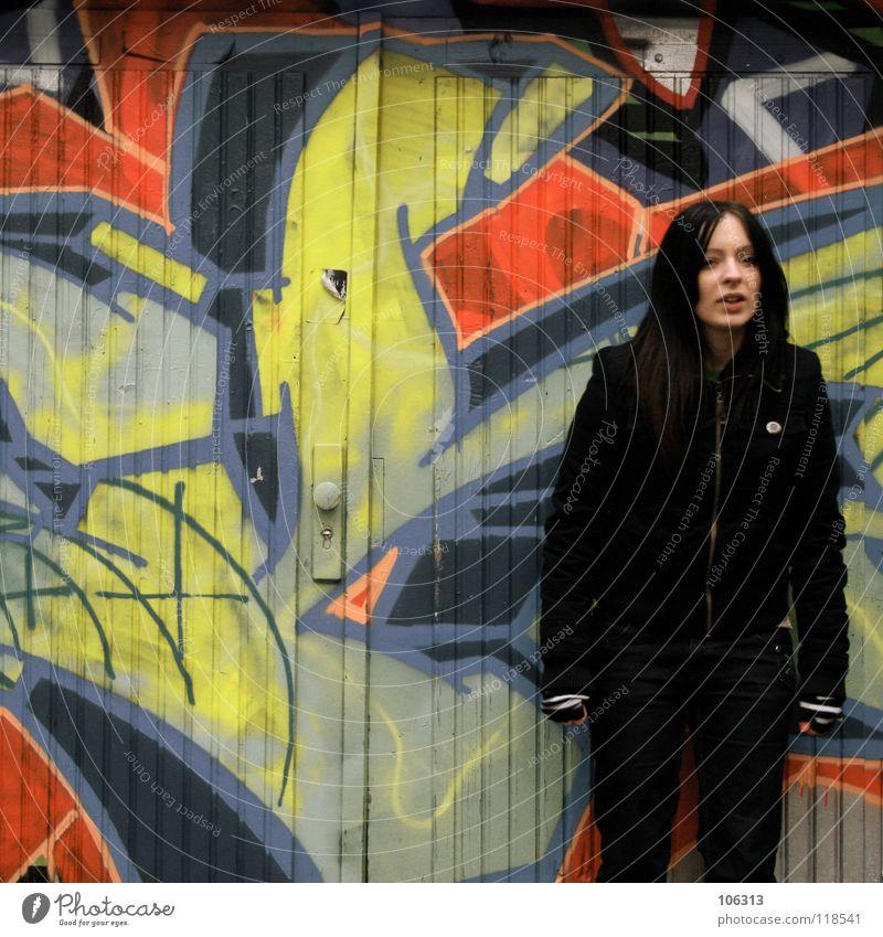 AUTHENTISCH FOREVER [KOFA08DD] Mensch Frau Mann Stadt schön Farbe rot ruhig schwarz kalt Umwelt Wand Graffiti Bewegung feminin Zusammensein