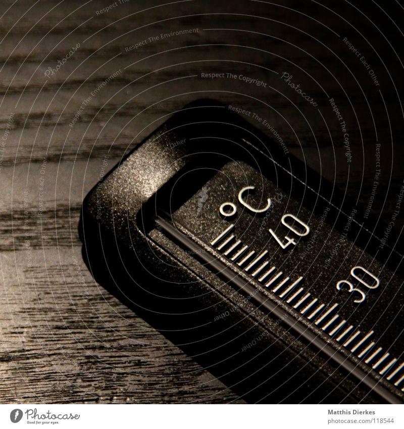 Thermometer II blau Metall Beleuchtung Hintergrundbild Industrie Häusliches Leben Kunststoff Ziffern & Zahlen Leiter Tiefenschärfe 30 Anzeige Haushalt