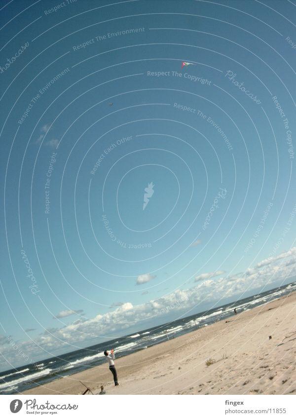 Drachenfliegen Frau Wasser Meer Strand Sand