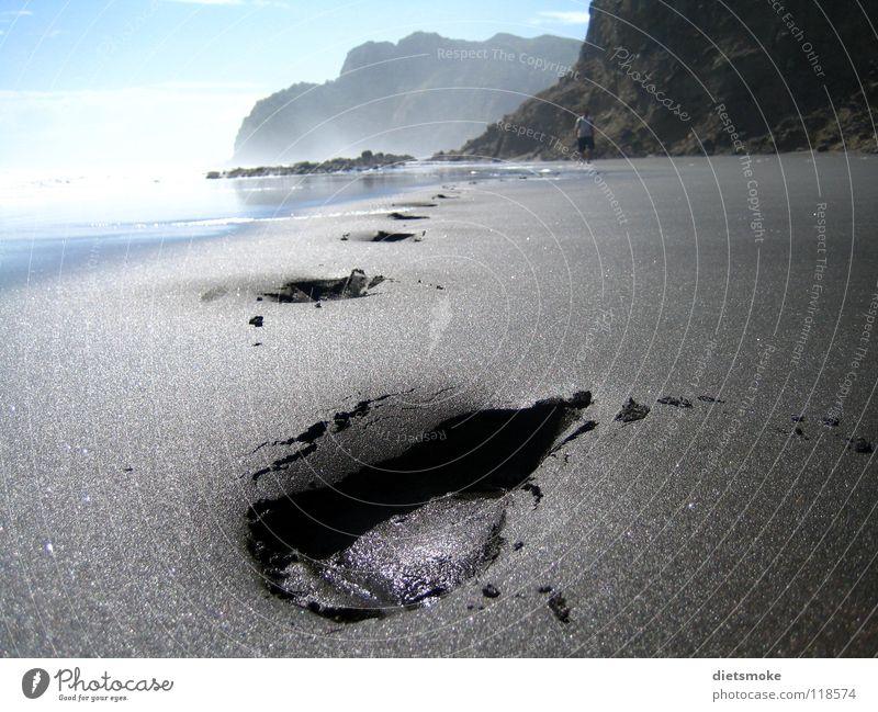 Piha Beach Strand Fußspur Meer Neuseeland Küste Erde Sand Karekare Northland Barfuß