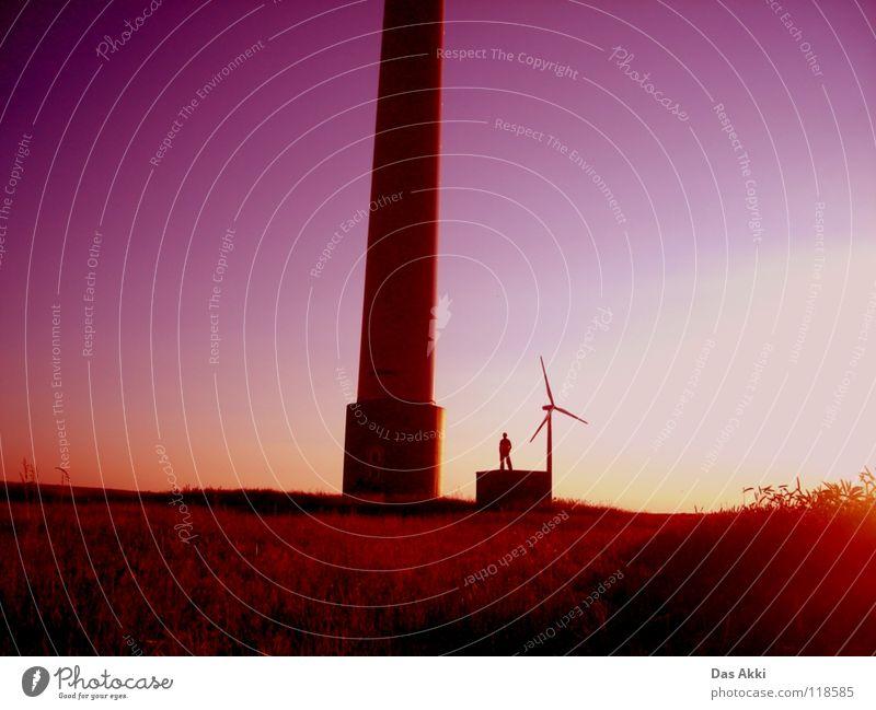 Generators View weiß rot Sommer Einsamkeit Wärme Landschaft Feld klein Wind Horizont Energiewirtschaft Elektrizität Frieden Flügel Physik Vertrauen