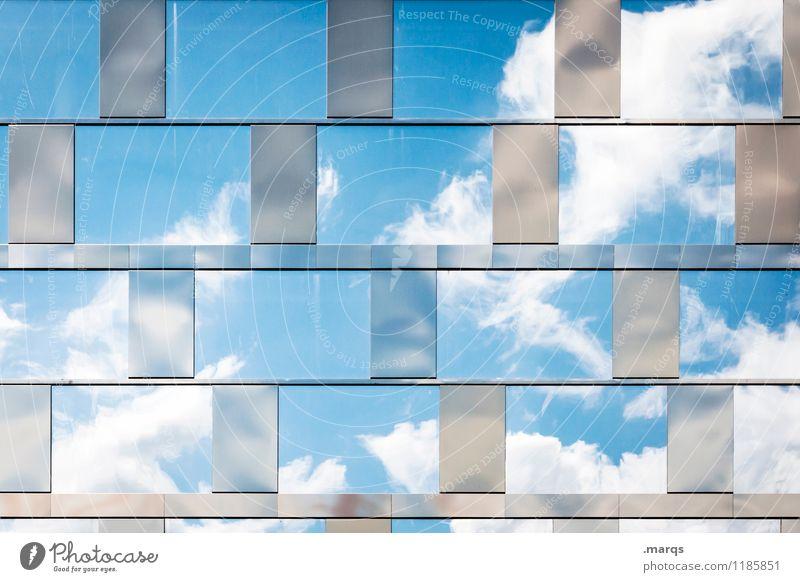 Schönes Wetter Natur nur Himmel Wolken Sommer Fenster Glasfassade hell modern schön Stimmung Erfolg Perspektive Luft Sehnsucht Farbfoto Außenaufnahme Muster