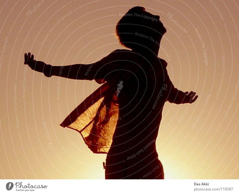 Schau mal Wer da guck Himmel weiß rot Sommer Freude schwarz Einsamkeit Wärme Landschaft orange Feld Horizont T-Shirt Flügel Physik Vertrauen