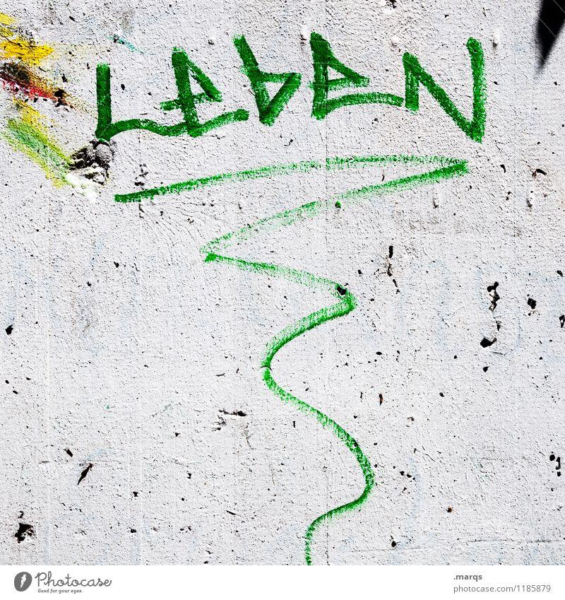 LebeN grün weiß Leben Graffiti Wand Mauer grau trashig