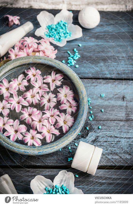 Blau Wellness Zubehör Natur schön Wasser Erholung Blume Blüte Stil Hintergrundbild Lifestyle rosa Design Körper Wohlgefühl Körperpflege Duft