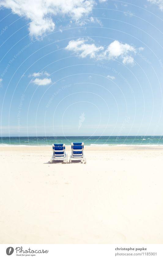 Two of us Ferien & Urlaub & Reisen Sommer Sonne Meer Einsamkeit Strand Küste Tourismus Wellen stehen Schönes Wetter Sonnenbad Sommerurlaub Reichtum Liegestuhl Traumstrand