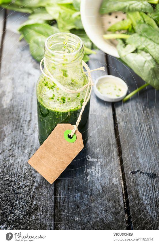 Grüner Smoothie in Flasche mit Etikett Gesunde Ernährung Leben Stil Hintergrundbild Garten Lebensmittel Lifestyle Frucht Design Getränk Gemüse Bioprodukte Diät