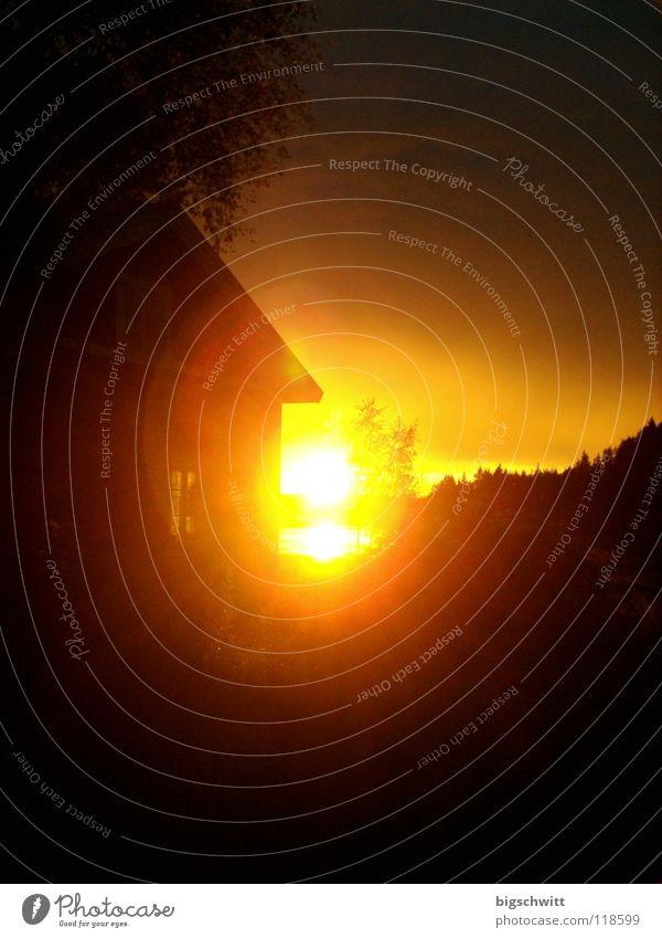 Sonne1 Sonnenuntergang Baum See Haus Licht Himmelskörper & Weltall Abend