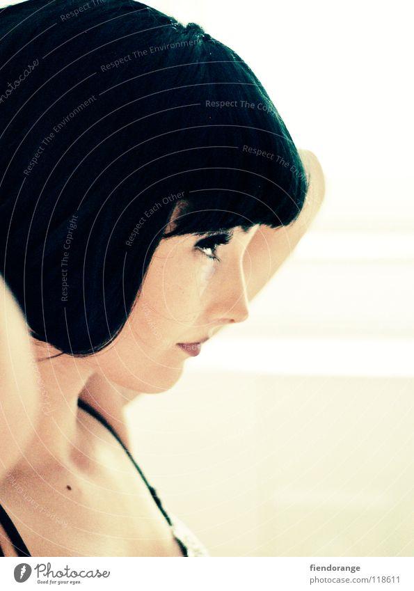 haarwunder Perücke schwarz Schminke schön Wimpern Model Gegenlicht Unterwäsche Friseur Zufriedenheit Haare & Frisuren haarpracht bleich mundaugen beautyqueen