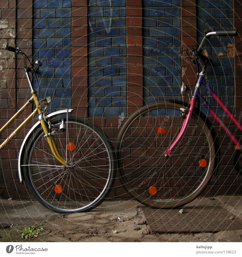 fahrradtreff Fahrrad Oldtimer Rad Hinterhof Gitter Einfahrt Abstellplatz Billig ökologisch Klimaschutz Gummi Silhouette Ständer Mauer Rücklicht Kotflügel Felge