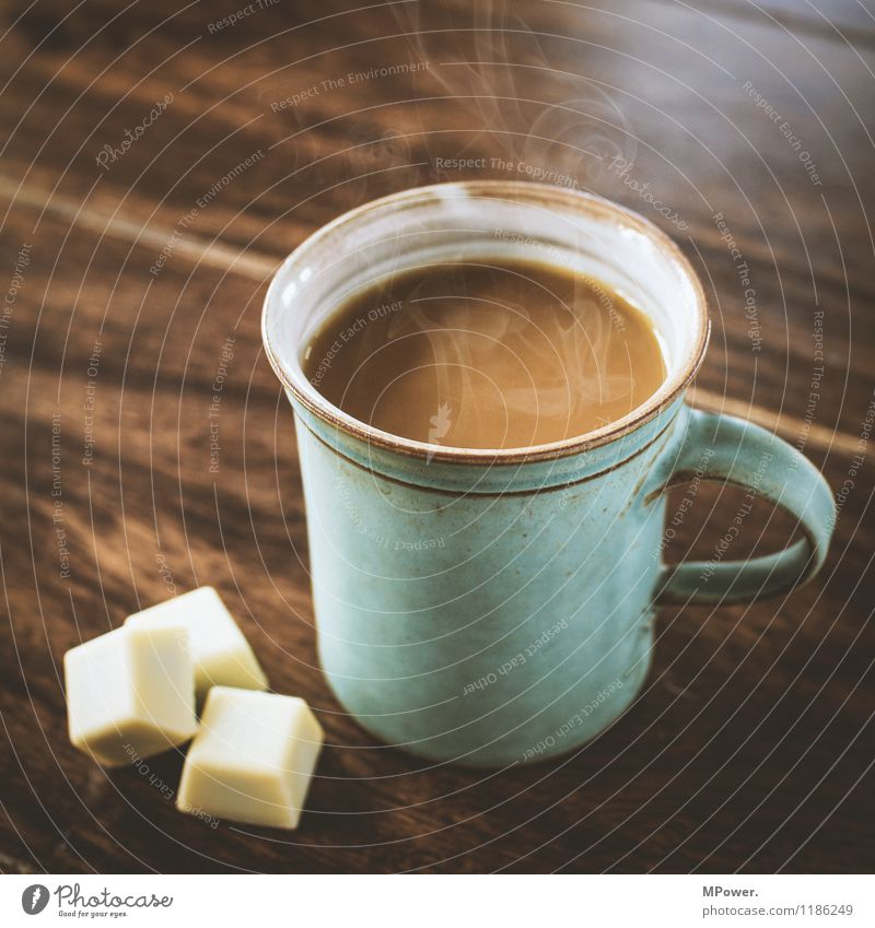 lebenselixier Essen Glück braun Tisch Ernährung Getränk Kaffee trinken heiß Frühstück Tasse Schokolade Holztisch Zucker Wasserdampf Kaffeetasse