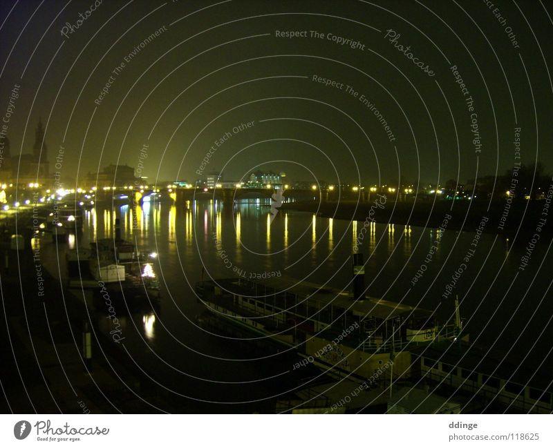 Dresden Night Wasserfahrzeug Brücke Dresden Elbe Semperoper