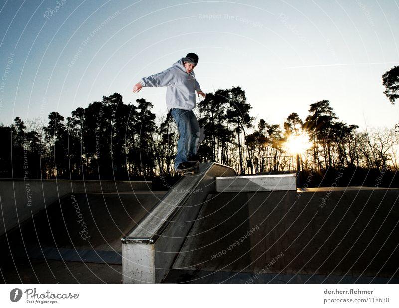 50/50 Skateboarding Pullover Sportpark Gegenlicht Grinden Zufriedenheit Baum Park kaputt Spielen funbox Sonne Schatten einzeln