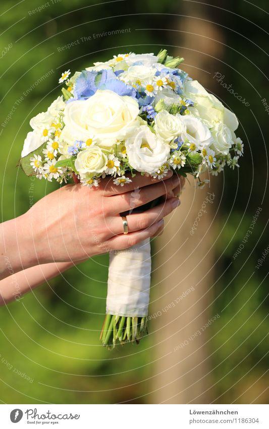 wedding details VI Jugendliche blau schön grün weiß Junge Frau Hand 18-30 Jahre Erwachsene elegant gold ästhetisch Finger Hochzeit festhalten Blumenstrauß