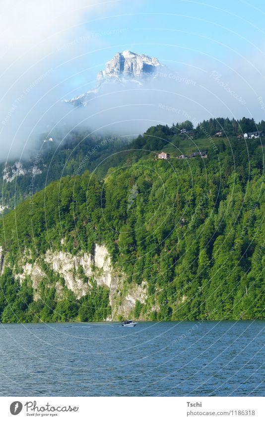 rund 1,5 km Höhenunterschied Himmel Natur Ferien & Urlaub & Reisen blau grün Wasser Erholung Landschaft ruhig Wolken Wald Berge u. Gebirge Küste See Felsen Freizeit & Hobby