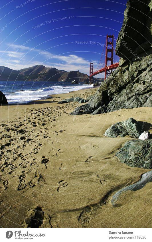 Golden Gate Bridge Meer Strand Ferien & Urlaub & Reisen Sand Brücke Kalifornien Fußspur San Francisco