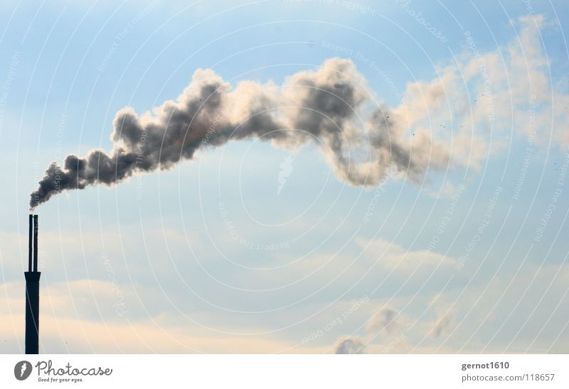 Klimaneutral Himmel blau weiß Wolken Stimmung Nebel Kraft Technik & Technologie hoch Industrie Industriefotografie Rauch Abgas Schornstein Gas
