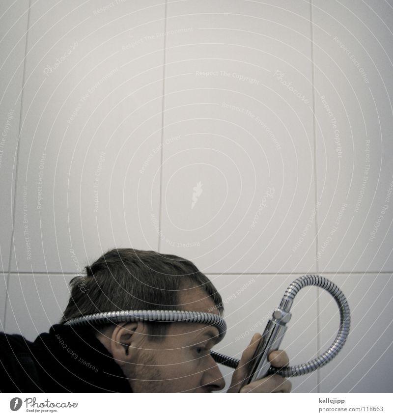verkalkung Mensch Mann Wasser Freude Gesicht Kopf Lebensmittel Trinkwasser verrückt trinken Telekommunikation Bad Sauberkeit tauchen trashig brennen