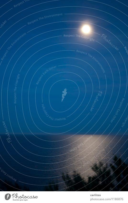 Vollmond Experiment Nacht Lichterscheinung Langzeitbelichtung Weitwinkel Erholung ruhig Meer Nachthimmel Mond Küste ästhetisch blau Ferne Mittelmeer mediterran