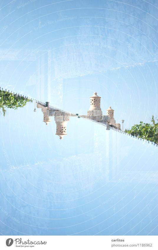 nun ja .... Himmel Ferien & Urlaub & Reisen blau grün Lampe braun Sträucher Neigung Laterne mediterran Mallorca Doppelbelichtung Terrakotta