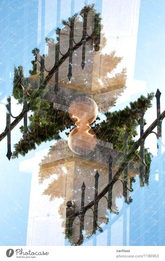 schwer auf Zack Tor Schmiedeeisen Zacken Spitze Mauerstein Säule Dekoration & Verzierung Kugel Terrakotta Sträucher Oleander Zypresse Doppelbelichtung verdreht