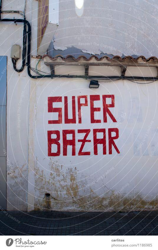 SUPER ? rot Wand Lampe Schriftzeichen kaufen Dach Kabel mediterran Mallorca Werbung Typographie Handel Markt Werbebranche verkaufen Gewerbe