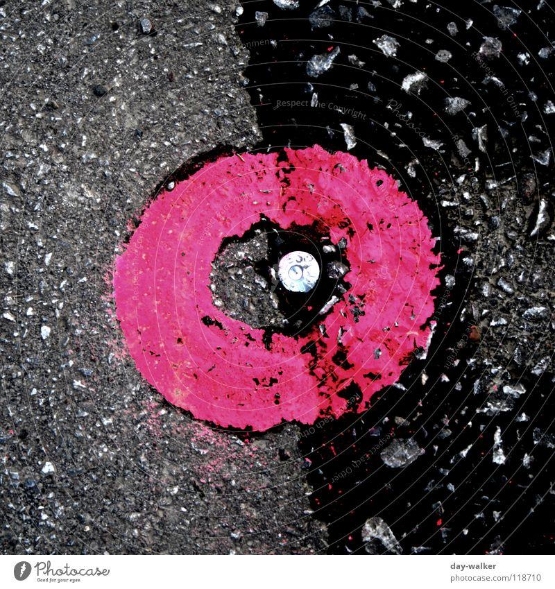 Punkt vor Strich Asphalt Teer Beton rund rosa dunkel Befestigung Stabilität Siegel Verkehrswege Farbe Hinweisschild Straße Schilder & Markierungen aoberfläche
