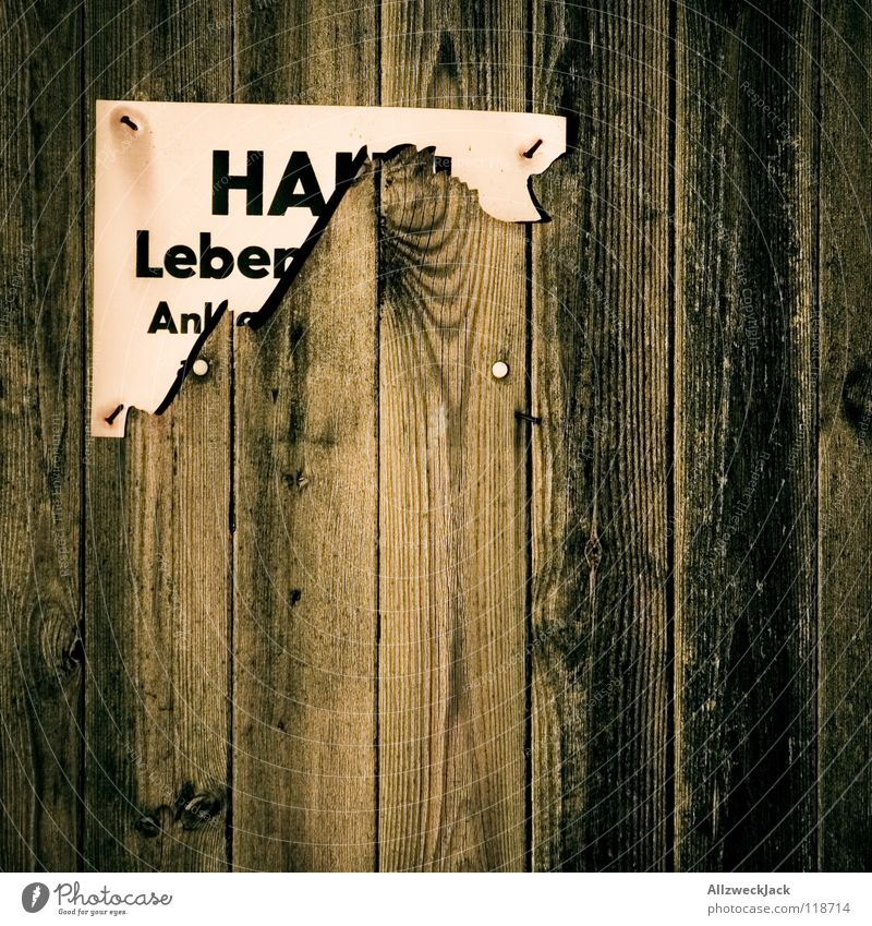 Ha! Leben Holz braun Tür Schilder & Markierungen gefährlich Schriftzeichen kaputt bedrohlich Buchstaben Hinweisschild Holzbrett Halt Maserung