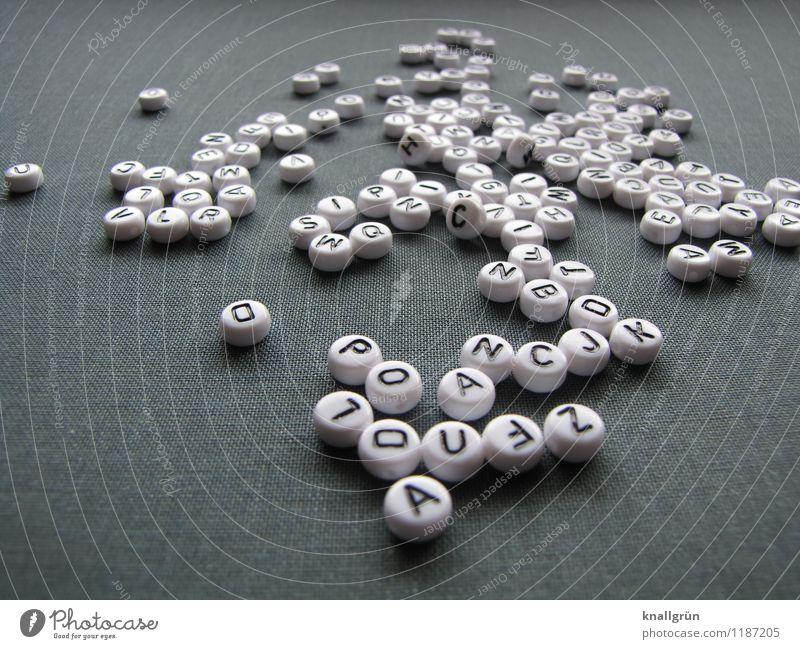 Sag was! Schriftzeichen Kommunizieren rund grau schwarz weiß Lateinisches Alphabet Sprache Wort Farbfoto Studioaufnahme Menschenleer Textfreiraum links