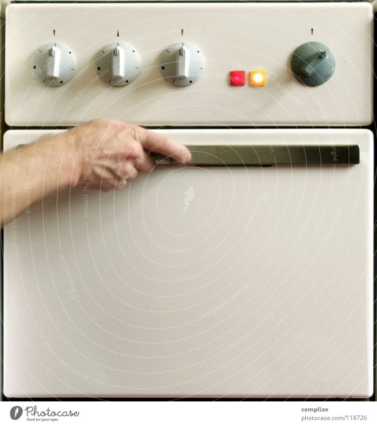 Heißer Ofen Wärme Beleuchtung retro Kochen & Garen & Backen einfach berühren Küche Physik heiß fangen skurril Humor Gerät Griff Haushalt Backwaren
