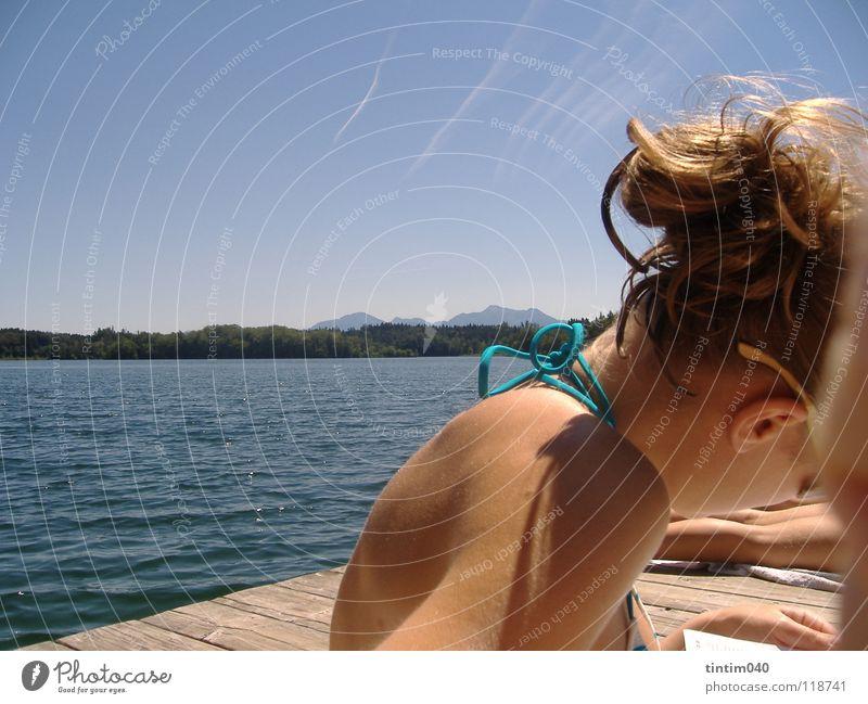 blueskywater Wasser Himmel Sommer Haare & Frisuren Haut Perspektive Coolness Dame Bikini