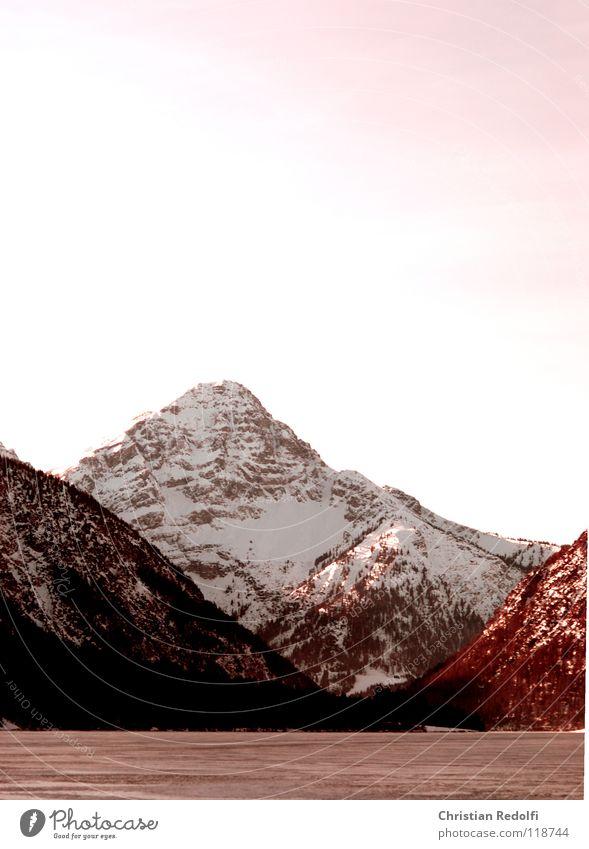 Berg See Himmel rot Winter Landschaft Schnee Berge u. Gebirge Eis Alpen Schneelandschaft Schlittschuhlaufen Gebirgssee