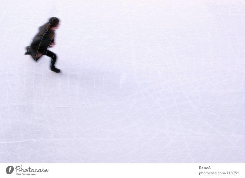 Wie der Wind Mensch weiß Winter schwarz kalt Sport Spielen Bewegung hell Eis Freizeit & Hobby laufen Geschwindigkeit einzeln Dynamik Mantel