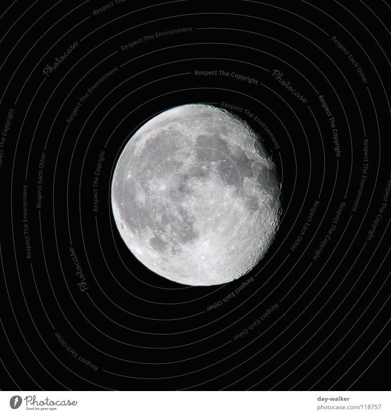 Anziehungspunkt Ferne dunkel hell Kreis rund Weltall Mond Oberfläche Planet Zoomeffekt Schwarzweißfoto Astronomie Astrologie Oberflächenstruktur Mondlandschaft