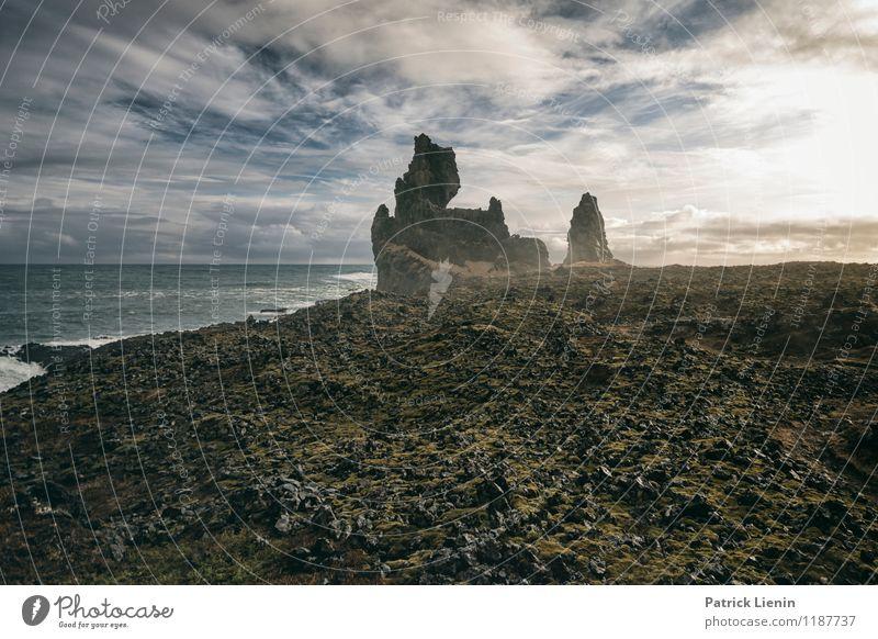 Snæfellsnes Peninsula Himmel Natur Ferien & Urlaub & Reisen Sommer Wasser Sonne Meer Landschaft Wolken Ferne Berge u. Gebirge Umwelt Küste Freiheit Tourismus Luft
