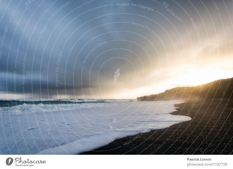 Djúpalónssandur Himmel Natur Ferien & Urlaub & Reisen Wasser Erholung Landschaft ruhig Wolken Ferne schwarz Umwelt Freiheit Sand Zufriedenheit Wetter Luft