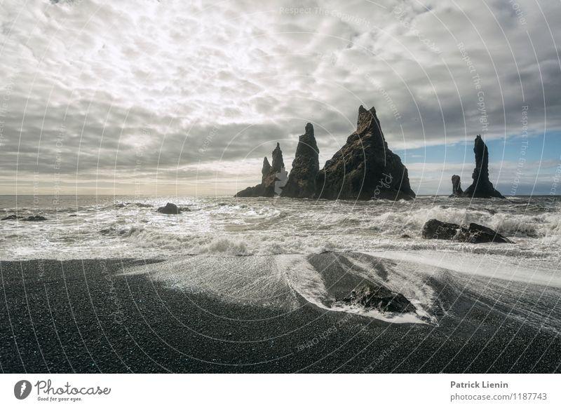 Dyrhólaey Himmel Natur Ferien & Urlaub & Reisen Wasser Meer Landschaft Wolken Ferne Strand Umwelt Sand Zufriedenheit Wetter Luft Tourismus Wellen